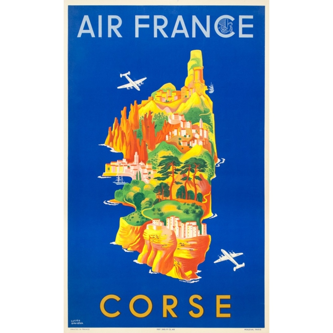 Vintage travel poster - Lucien Boucher - 1949 - Air France Corse Corsica - 39.4 by 23.6 inches