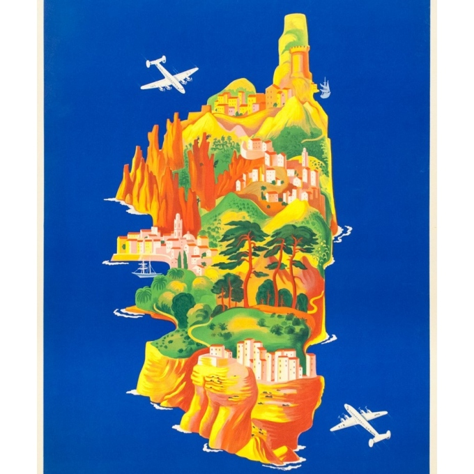 Vintage travel poster - Lucien Boucher - 1949 - Air France Corse Corsica - 39.4 by 23.6 inches - 4