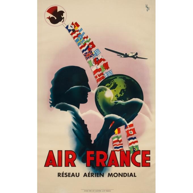 Affiche ancienne de voyage - Vinci - 1937 - Air France Réseau aérien mondial - 99.5 par 60 cm