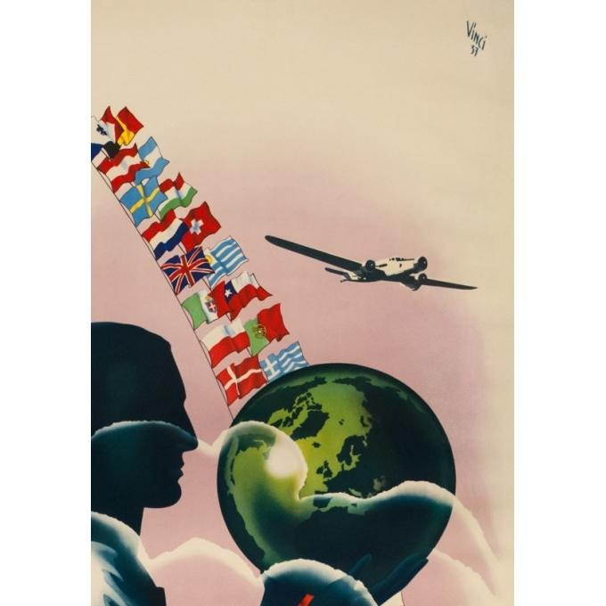 Affiche ancienne de voyage - Vinci - 1937 - Air France Réseau aérien mondial - 99.5 par 60 cm - 2