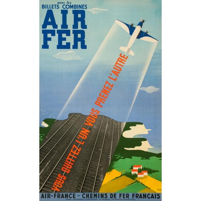 Affiche ancienne de voyage - Roland Hugon - 1938 - Air France Air Fer - 100 par 61 cm