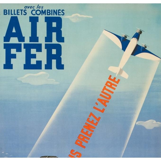 Affiche ancienne de voyage - Roland Hugon - 1938 - Air France Air Fer - 100 par 61 cm - 2