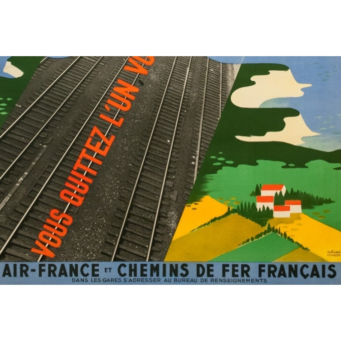 Affiche ancienne de voyage - Roland Hugon - 1938 - Air France Air Fer - 100 par 61 cm - 3