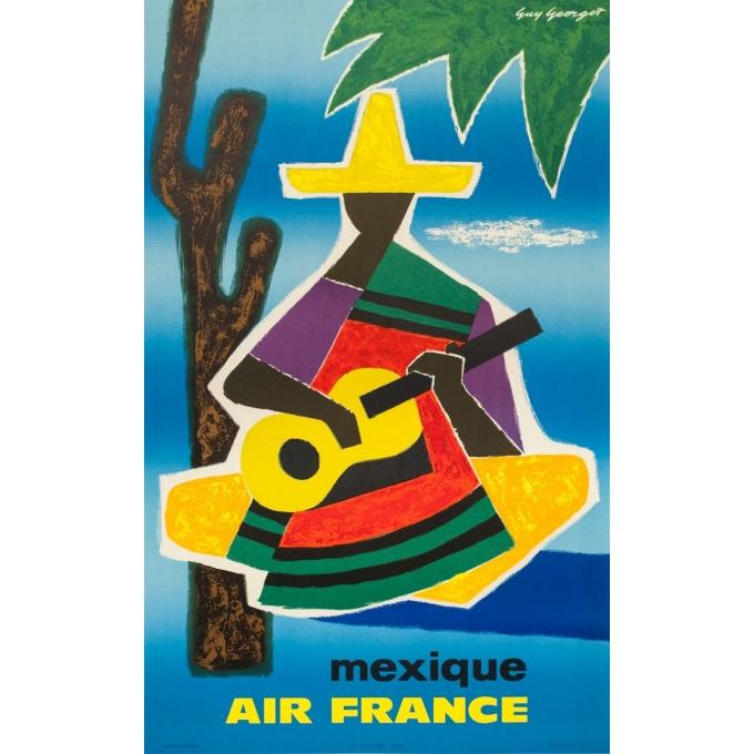 Affiche ancienne de voyage - Guy Georget - 1962 - Air France Mexique Mexico - 99 par 61 cm