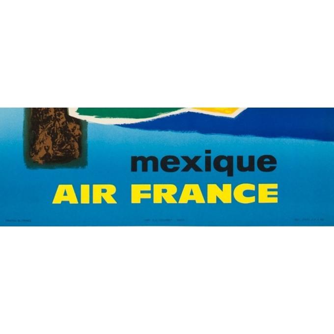 Affiche ancienne de voyage - Guy Georget - 1962 - Air France Mexique Mexico - 99 par 61 cm - 3