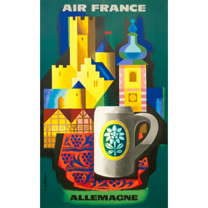 Vintage travel poster - Nathan - 1963 - Air France Allemagne Germany - 39 by 24.2 inches