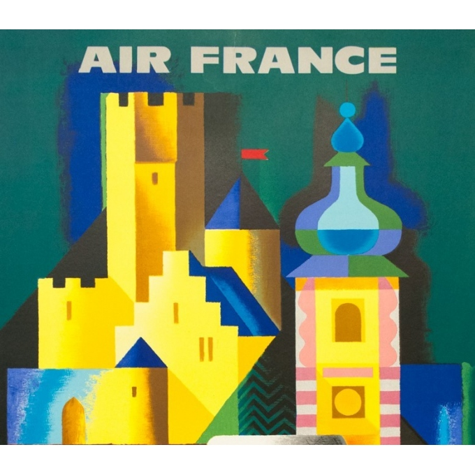 Vintage travel poster - Nathan - 1963 - Air France Allemagne Germany - 39 by 24.2 inches - 2