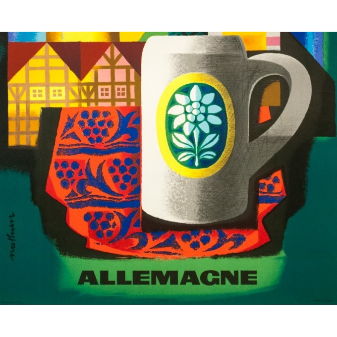 Vintage travel poster - Nathan - 1963 - Air France Allemagne Germany - 39 by 24.2 inches - 3