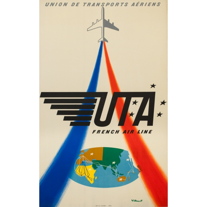 Vintage travel poster - Villemot - Circa 1960 - UTA French airline - 38.6 by 24 inches