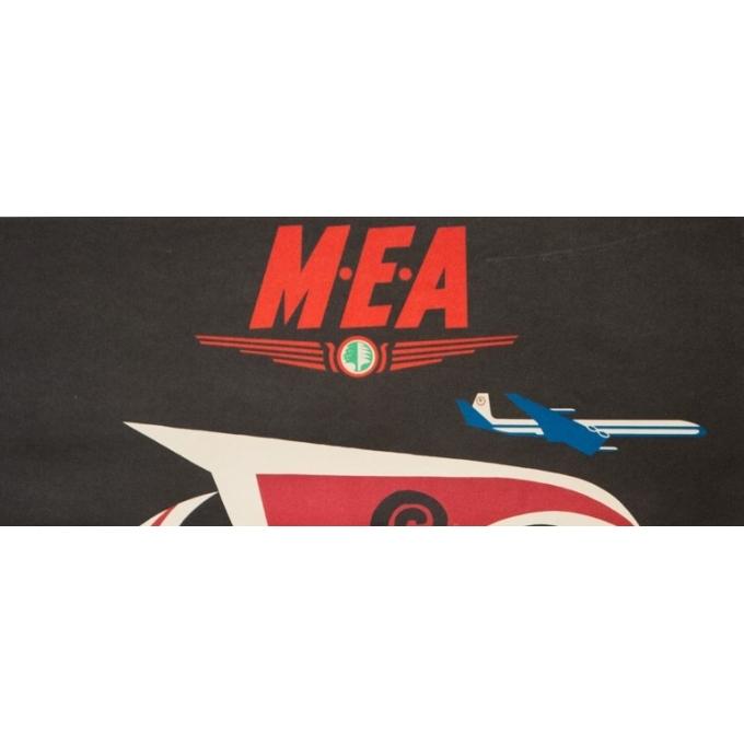 Affiche ancienne de voyage - Auriac - Circa 1960 - MEA Grèce Greece - 80 par 53 cm - 2