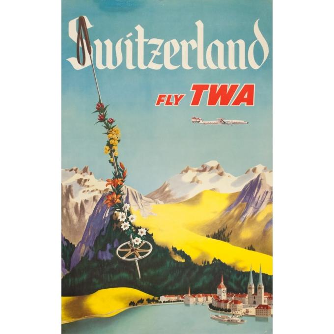 Affiche ancienne de voyage - Anonyme - Circa 1950 - TWA Suisse Switzerland - 101 par 64 cm