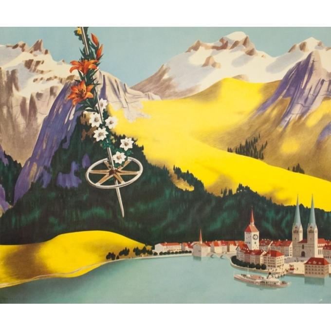 Affiche ancienne de voyage - Anonyme - Circa 1950 - TWA Suisse Switzerland - 101 par 64 cm - 3