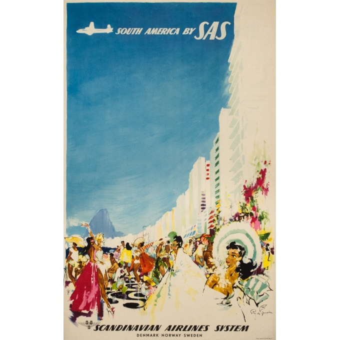 Vintage travel poster - Don - Circa 1960 - SAS Scandinavian Airline Rio Brésil Brazil - 39 by 24.4 inches