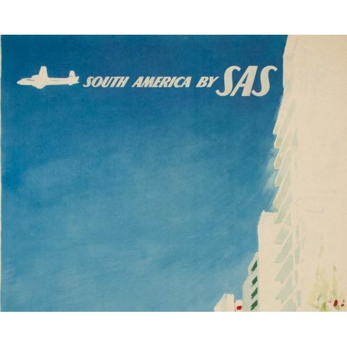 Affiche ancienne de voyage - Don - Circa 1960 - SAS Scandinavian Airline Rio Brésil Brazil - 99 par 62 cm - 2