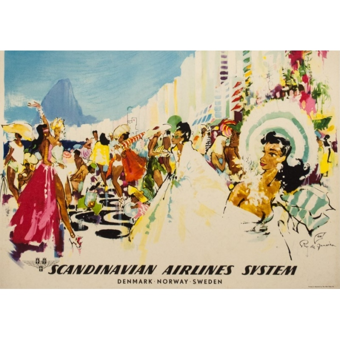 Vintage travel poster - Don - Circa 1960 - SAS Scandinavian Airline Rio Brésil Brazil - 39 by 24.4 inches - 3