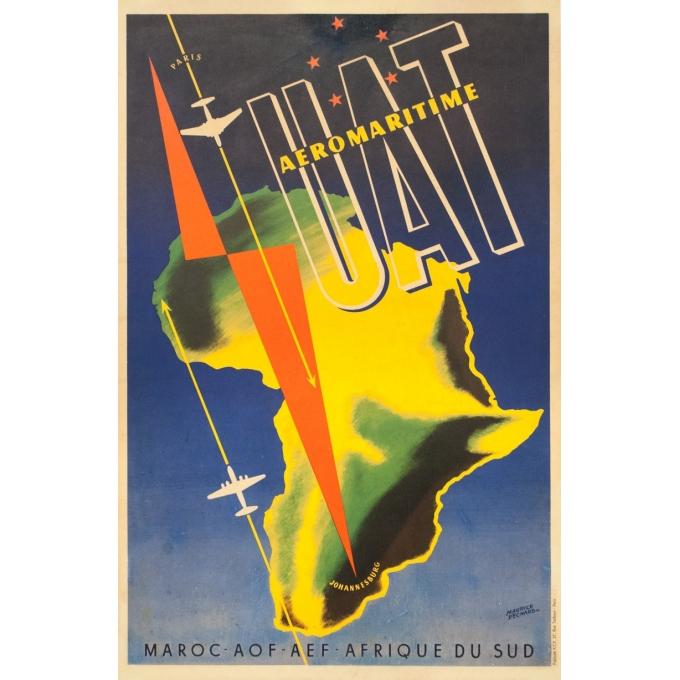Affiche ancienne de voyage - Maurice Pecnard - Circa 1955 - UAT Aéromaritime - 99 par 62 cm