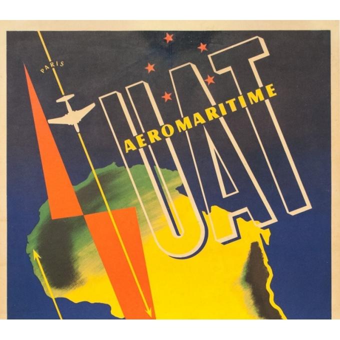 Affiche ancienne de voyage - Maurice Pecnard - Circa 1955 - UAT Aéromaritime - 99 par 62 cm - 2