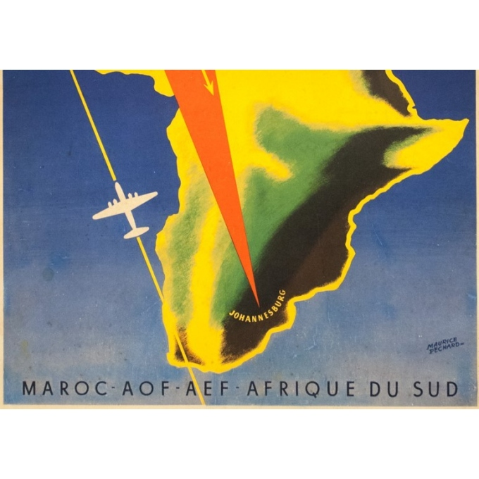 Vintage travel poster - Maurice Pecnard - Circa 1955 - UAT Aéromaritime - 39 by 24.4 inches - 3
