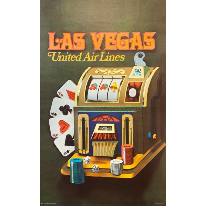 Affiche ancienne de voyage - Anonyme - 1971 - United Airlines Las Vegas - 102 par 62.5 cm