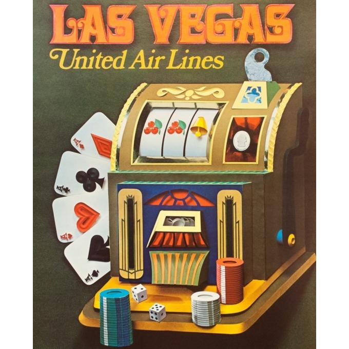 Affiche ancienne de voyage - Anonyme - 1971 - United Airlines Las Vegas - 102 par 62.5 cm - 2