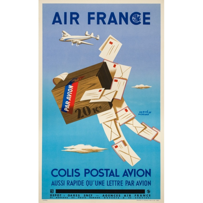 Vintage travel poster - Hervé Morvan - 1950 - Air France Colis Postal - 39.4 by 23.6 inches