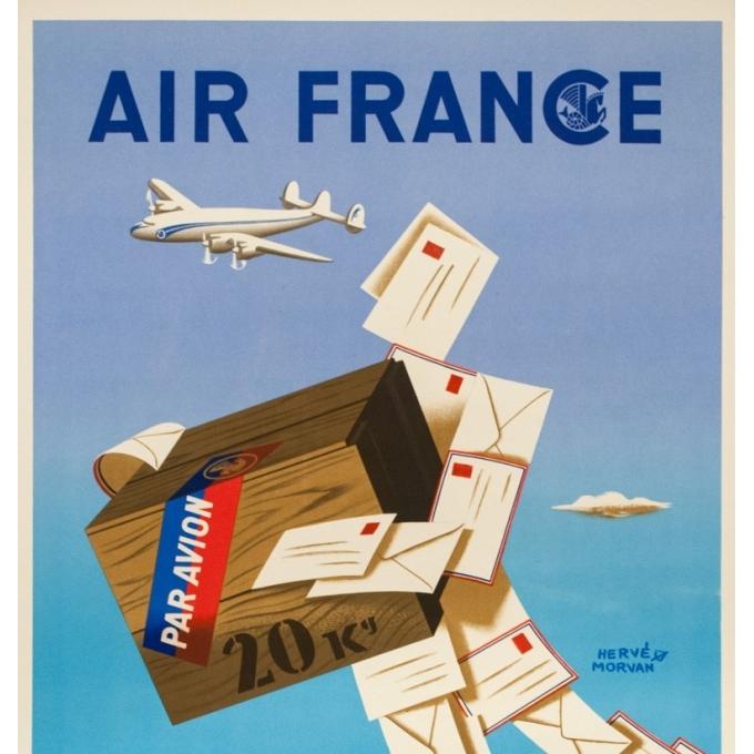 Affiche ancienne de voyage - Hervé Morvan - 1950 - Air France Colis Postal - 100 par 60 cm - 2