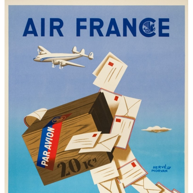 Vintage travel poster - Hervé Morvan - 1950 - Air France Colis Postal - 39.4 by 23.6 inches - 2