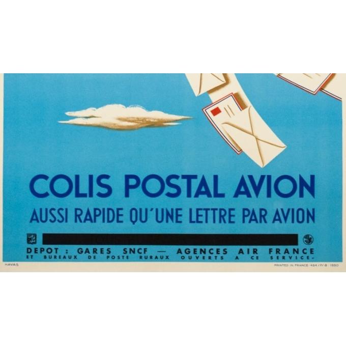 Affiche ancienne de voyage - Hervé Morvan - 1950 - Air France Colis Postal - 100 par 60 cm - 3