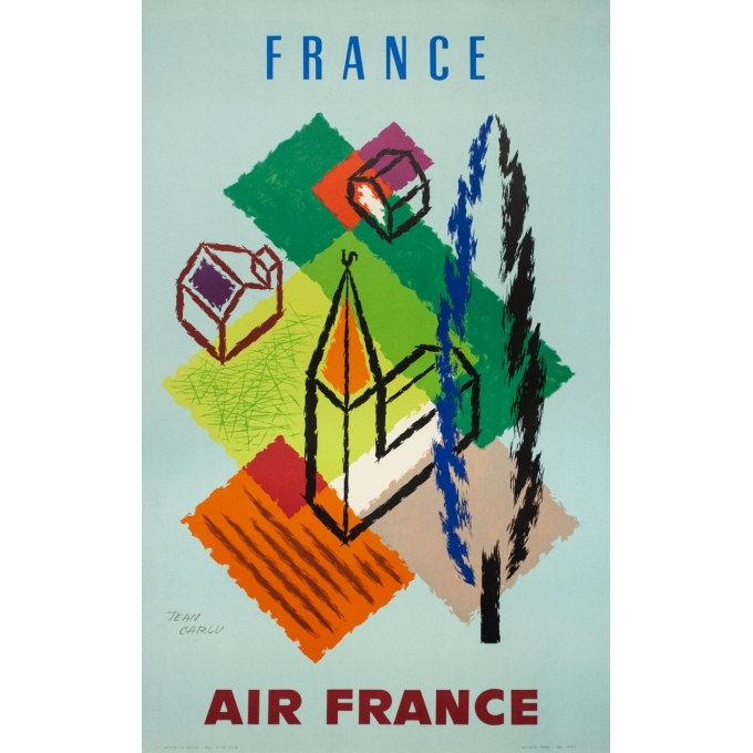 Vintage travel poster - Jean Carlu - 1958 - Air France France - 39.4 by 24.4 inches