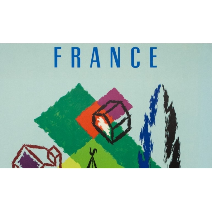 Vintage travel poster - Jean Carlu - 1958 - Air France France - 39.4 by 24.4 inches - 2