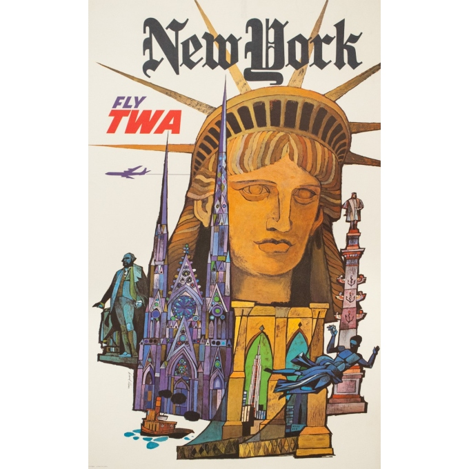 Affiche ancienne de voyage - David Klein - Circa 1970 - TWA New York NYC USA - 101 par 63.5 cm