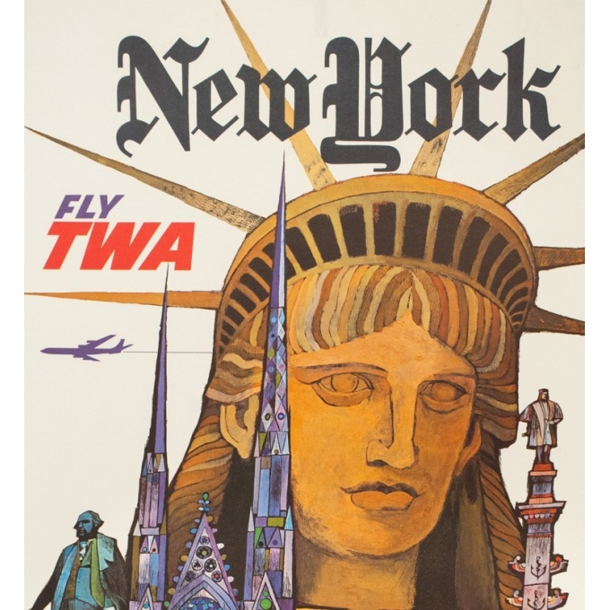Affiche ancienne de voyage - David Klein - Circa 1970 - TWA New York NYC USA - 101 par 63.5 cm - 2