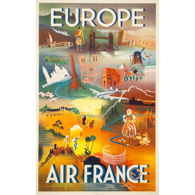 Affiche ancienne de voyage - Falcucci - 1949 - Air France Europe - 100 par 63 cm