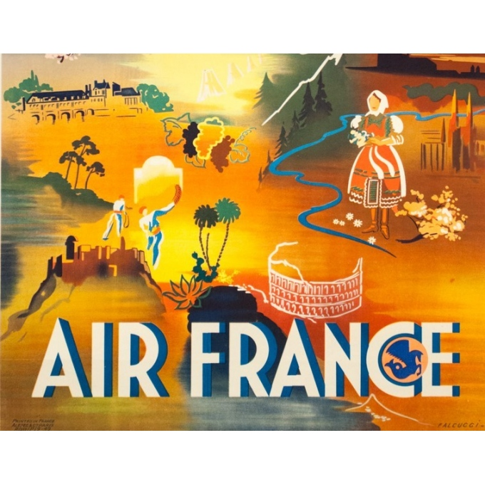 Affiche ancienne de voyage - Falcucci - 1949 - Air France Europe - 100 par 63 cm - 3