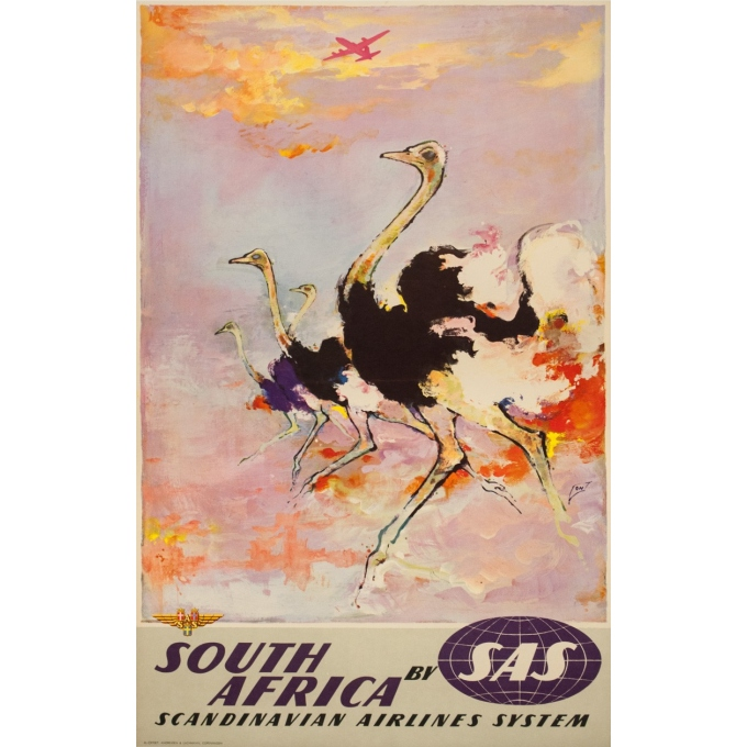 Vintage travel poster - Don - Circa 1960 - SAS Scandinavian Airline South Africa Afrique Du Sud - 39.4 by 24.8 inches