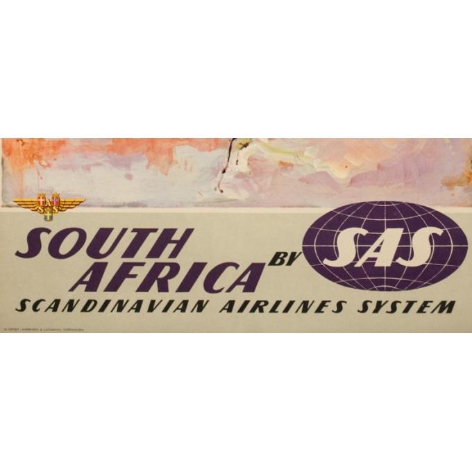 Affiche ancienne de voyage - Don - Circa 1960 - SAS Scandinavian Airline South Africa Afrique Du Sud - 100 par 63 cm - 3