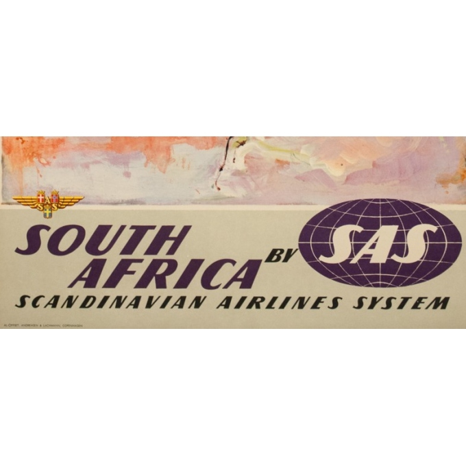 Vintage travel poster - Don - Circa 1960 - SAS Scandinavian Airline South Africa Afrique Du Sud - 39.4 by 24.8 inches - 3