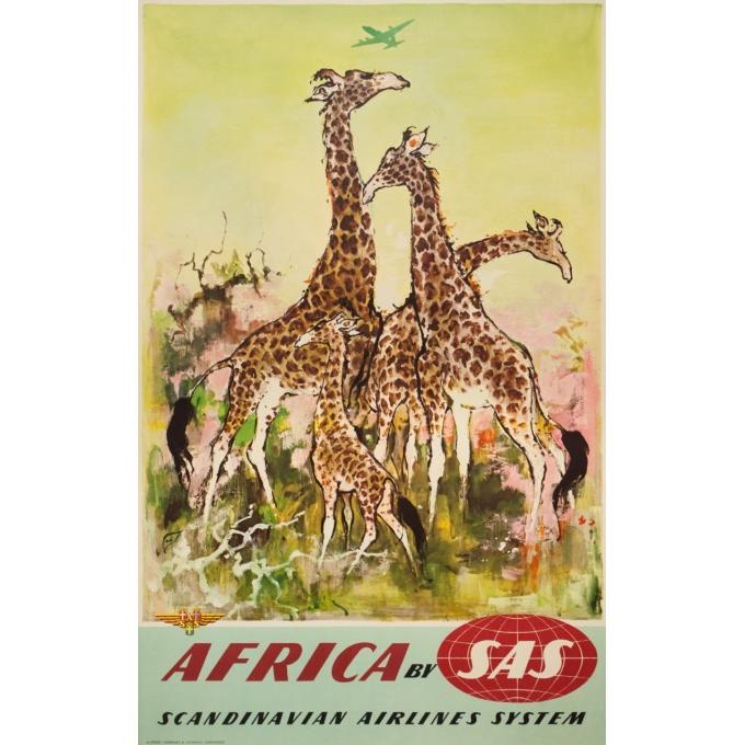 Affiche ancienne de voyage - Don - Circa 1960 - SAS Africa Afrique Girafes - 100 par 63 cm
