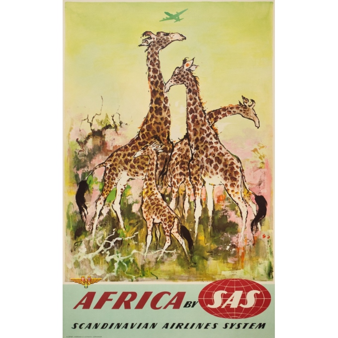 Vintage travel poster - Don - Circa 1960 - SAS Africa Afrique Girafes - 39.4 by 24.8 inches