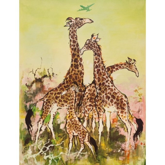 Affiche ancienne de voyage - Don - Circa 1960 - SAS Africa Afrique Girafes - 100 par 63 cm - 2