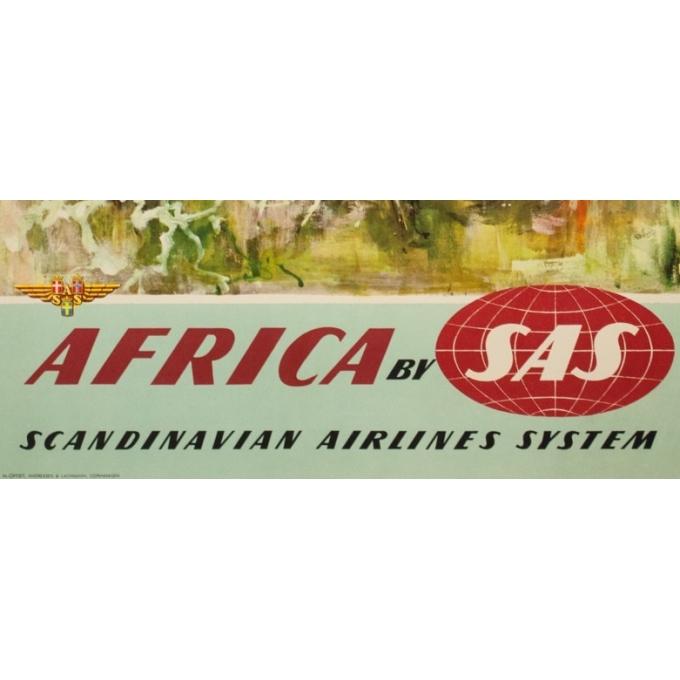 Affiche ancienne de voyage - Don - Circa 1960 - SAS Africa Afrique Girafes - 100 par 63 cm - 3