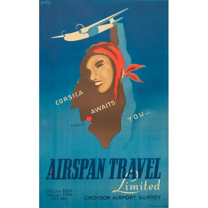 Affiche ancienne de voyage - Pontac - 1949 - Airspan Travel Corse Corsica - 98.5 par 61.5 cm