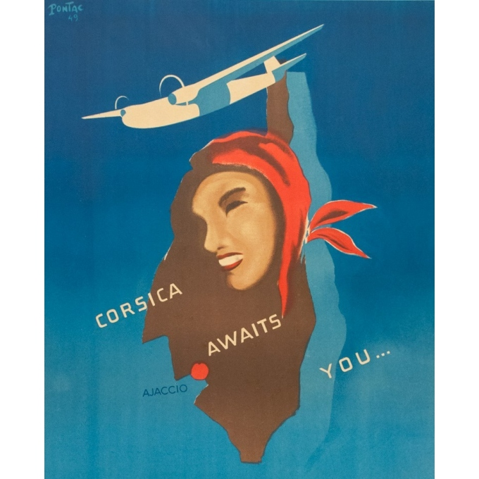 Vintage travel poster - Pontac - 1949 - Airspan Travel Corse Corsica - 38.8 by 24.2 inches - 2