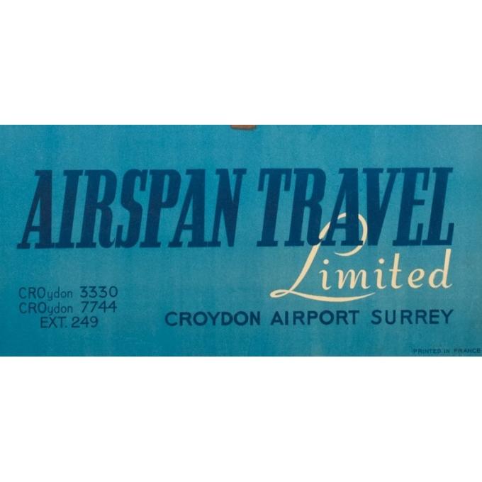 Affiche ancienne de voyage - Pontac - 1949 - Airspan Travel Corse Corsica - 98.5 par 61.5 cm - 3