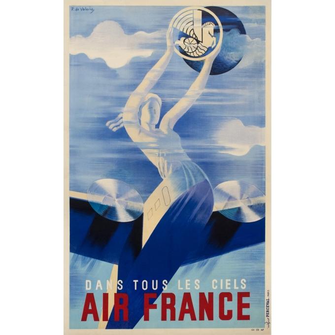 Affiche ancienne de voyage - Roger de Valerio - 1935 - Air France Dans Tous Les Ciels - 98.5 par 61 cm