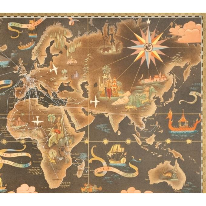 Affiche ancienne de voyage - Lucien Boucher - Circa 1940 - Air France Réseau Aérien Mondial Planisphère - 92.5 par 56.5 cm - 3