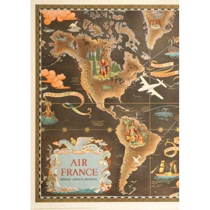 Affiche ancienne de voyage - Lucien Boucher - Circa 1940 - Air France Réseau Aérien Mondial Planisphère - 92.5 par 56.5 cm - 4