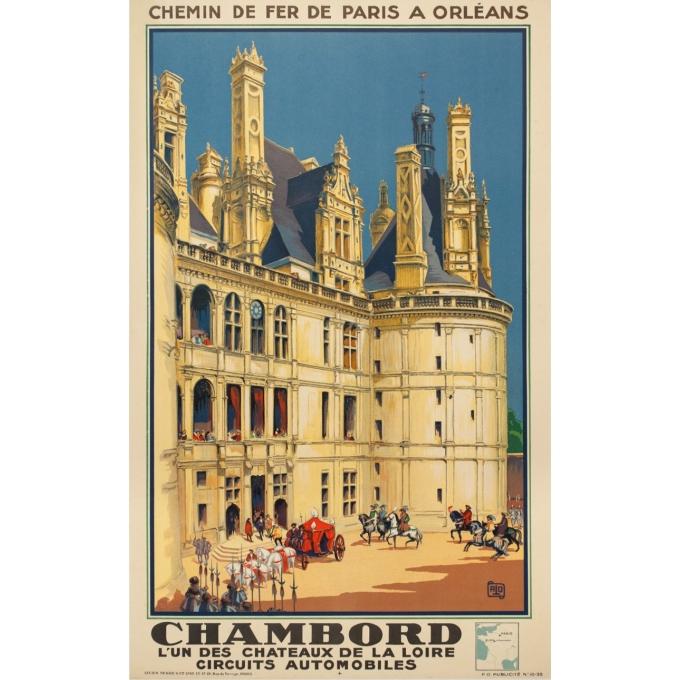 Affiche ancienne de voyage - Hallo - 1932 - Chambord - 99 par 61.5 cm