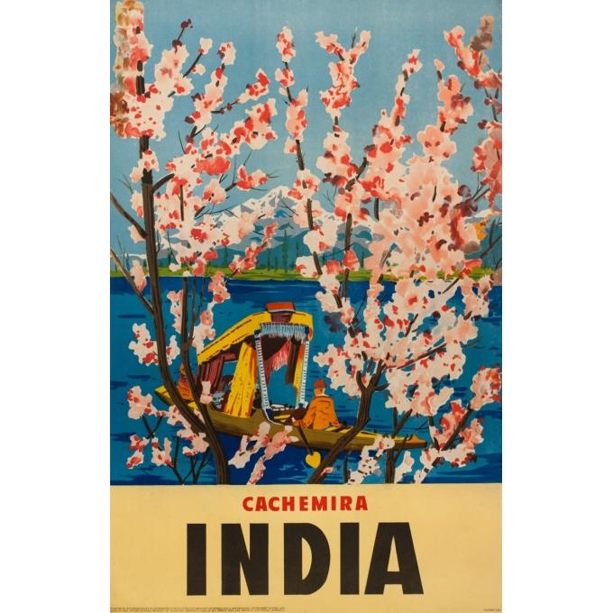 Affiche ancienne de voyage - Anonyme - Circa 1950 - Cachemir Inde - 100 par 64 cm