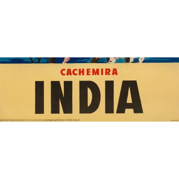 Affiche ancienne de voyage - Anonyme - Circa 1950 - Cachemir Inde - 100 par 64 cm - 3